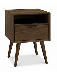 Linea Hoxton walnut 1 drawer with shelf bedside