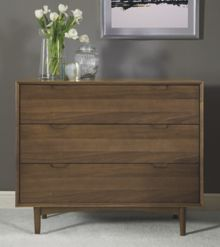 Hoxton walnut 3 drawer wide chest