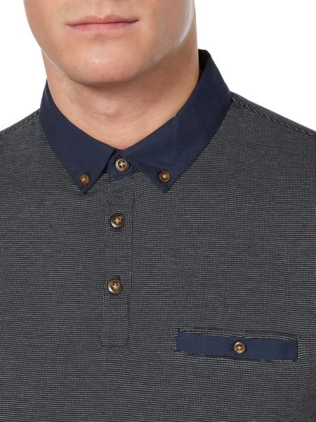 Linea Sterling Woven Collar And Pocket Jacquard Polo