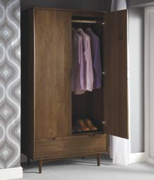 Linea Hoxton walnut double wardrobe