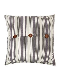 Large blue stripe cushion with buttons