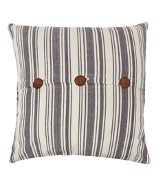 Linea Large Blue Stripe Cushion With Buttons
