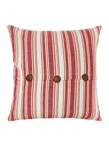 Linea Large stripe cushion with buttons, red