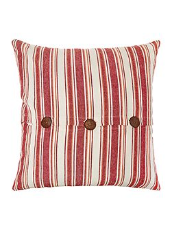 Large stripe cushion with buttons, red