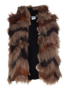 Layered fur gilet