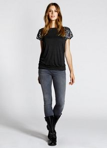 Granite Marl Sequin Detail Chiffon Back Tee