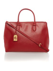 Red large double zip tote bag