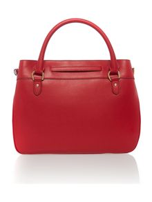 Red large belted cross body tote bag