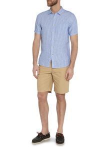 Sackville stripe short sleeve linen shirt