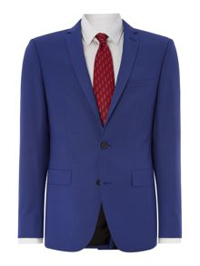 Cobalt solid slim fit suit jacket