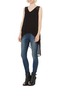 Hi low asymmetric layered top