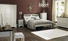 Etienne soft grey & walnut double bedstead
