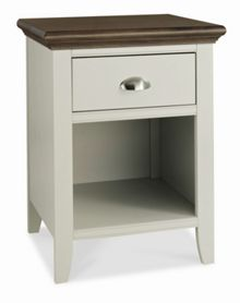 Etienne soft grey & walnut 1 drawer bedside