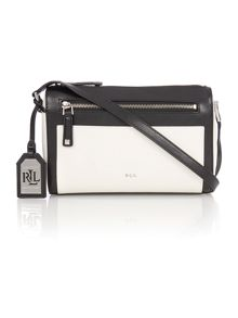 Neutral and black medium cross body bag