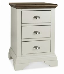 Etienne soft grey & walnut 3 drawer bedside