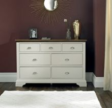 Etienne soft grey & walnut 3+4 drawer chest