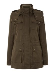 Short parka with vest