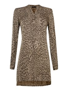 Long sleeved panther print tunic