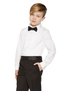 Boys Pleated Bib Long Sleeved Shirt And Bow Tie