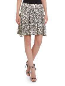 Beige and brown pattern print skirt