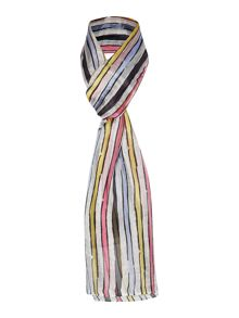 Painted stripe silk scarf