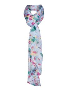 Baged out floral silk scarf