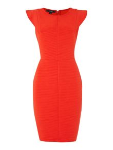 Angel sleeve ribbed dress