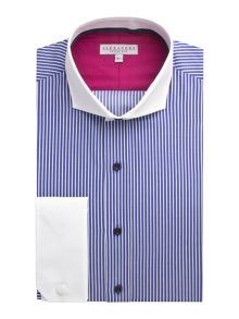 Alexandre of England Stripe Tailored Long Sleeve Cutaway Collar Shirt