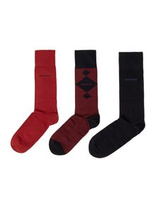 3 pack print and plain sock