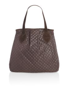 Argyle pattern brown handbag