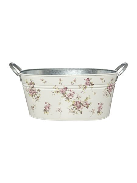 Shabby Chic Floral Decal Enamel Bucket