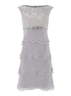 Tiered chiffon dress with lace top
