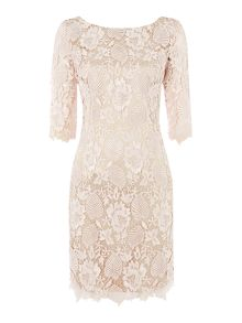 Lace guipure dress with 3/4 length sleeves