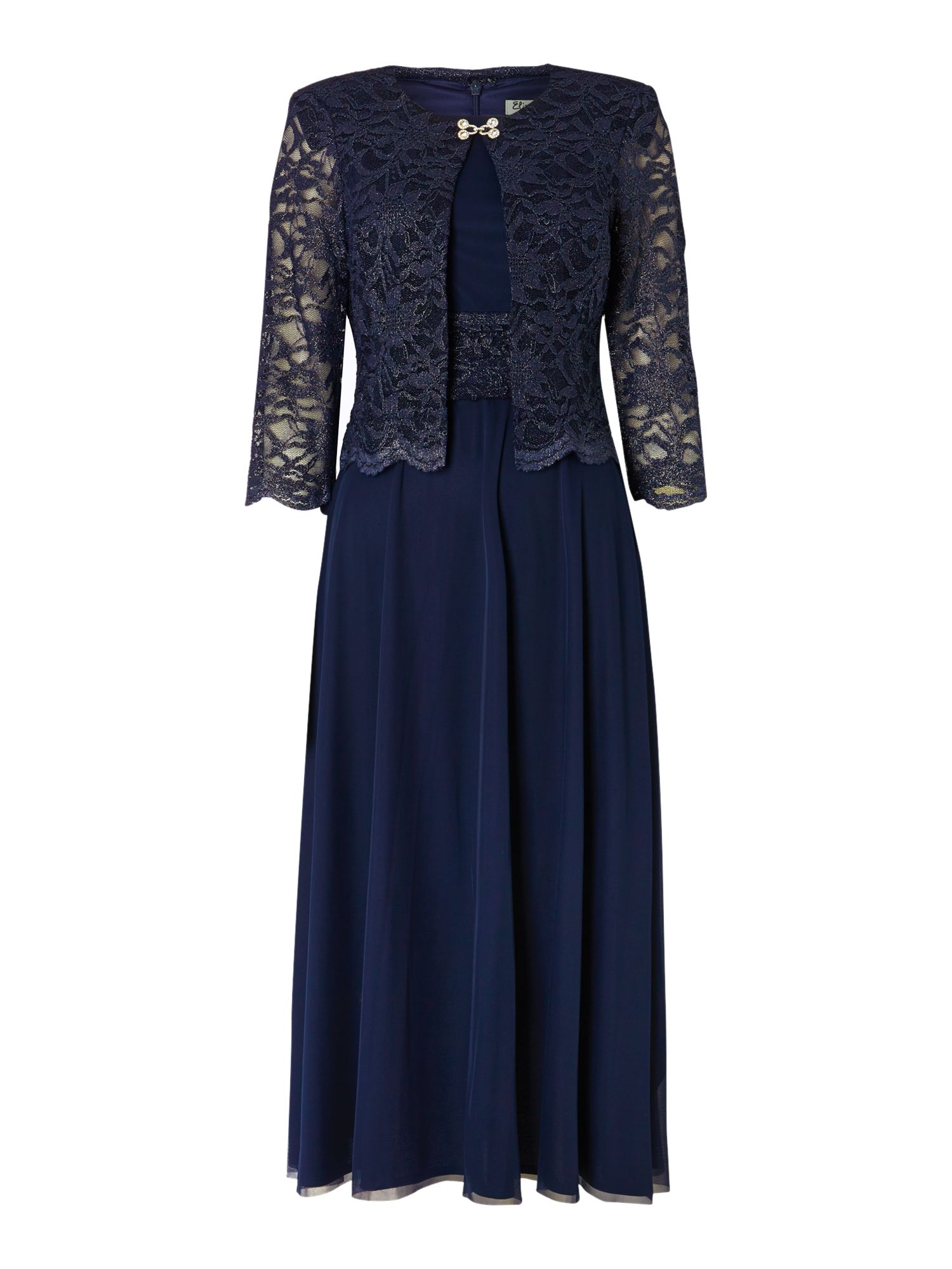 Eliza J Mesh and Lace Dress and Jacket, Navy