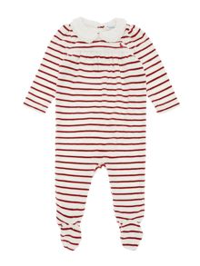 Girl`S All In One Velour Stripe