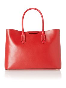 Red large city tote bag