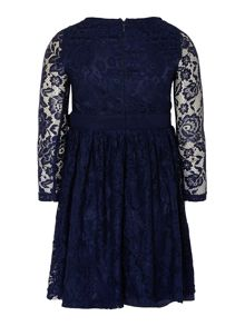 Girls allover lace long sleeved dress with bow