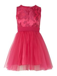 Girls lace bodice with bow dress