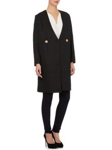 Textured button detail coat