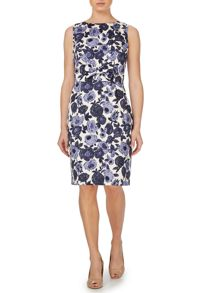 Daphne floral shift dress with bow and buttons