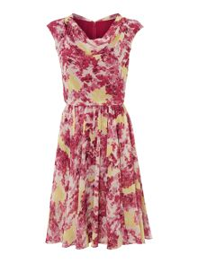 Betty floral cowl neck dress