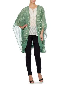 Spot printed throw on kimono jacket