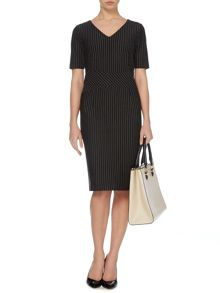 Pinstripe ponte dress