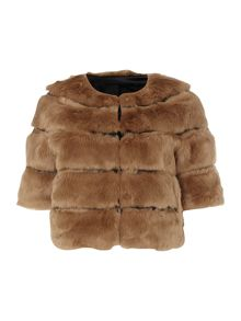 Long sleeve fur stole jacket