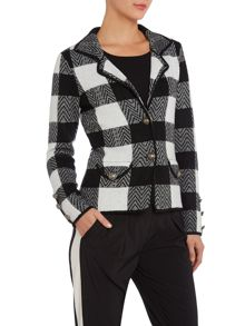 Long sleeve checked knit jacket