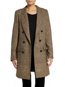 Long sleeve gold fleck tweed coat
