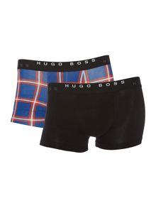 2 pack check and plain underwear trunk