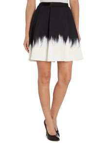 Feather print ombre skirt