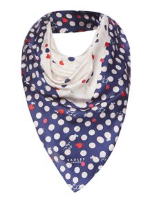 Radley Heart spot dog silk square scarf