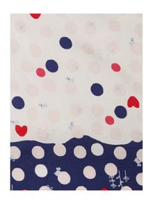 Heart spot dog silk square scarf